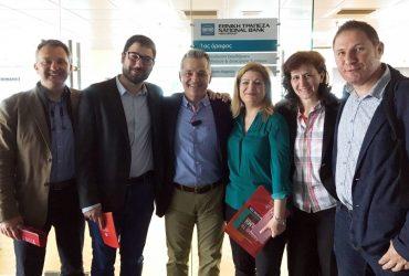 Επίσκεψη του Νάσου Ηλιόπουλου σε κατάστημα της Εθνικής Τράπεζας Ελλάδος στο κέντρο της Αθήνας